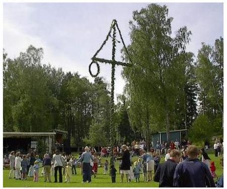 Maypole, actually a Midsummerpole, but these two celebrations got mixed up along history.